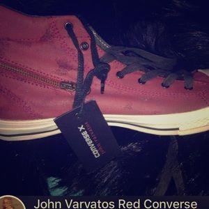 John Varvatos red zipper converse men's size 11